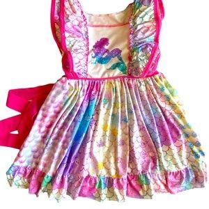 Ruffled Sleeve Mermaid Dress 4T